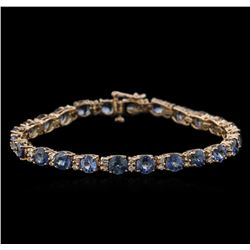 15.60 ctw Blue Sapphire and Diamond Bracelet - 14KT Rose Gold