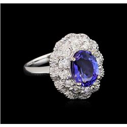 2.40 ctw Tanzanite and Diamond Ring - 14KT White Gold