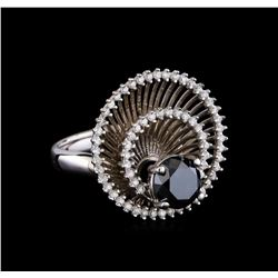 2.85 ctw Black Diamond Ring - 14KT White Gold