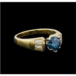 0.74 ctw  Blue Zircon and Diamond Ring - 14KT Yellow Gold