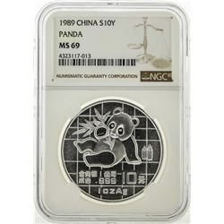 1989 China 10 Yuan Silver Panda Coin NGC MS69