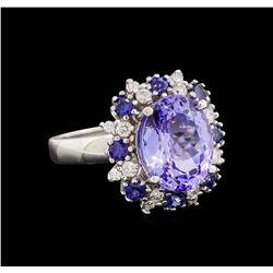 14KT White Gold 5.88 ctw Tanzanite, Sapphire and Diamond Ring