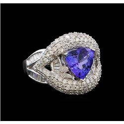14KT White Gold 1.81 ctw Tanzanite and Diamond Ring