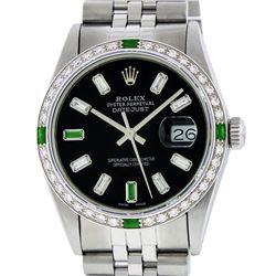 Rolex Mens SS Black Baguette Diamond And Emerald Datejust Wristwatch