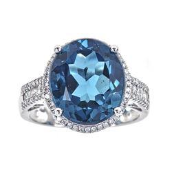 10.48 ctw London Blue Topaz and Diamond Ring - 14KT White Gold