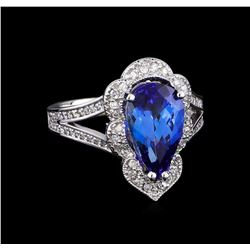 3.68 ctw Tanzanite and Diamond Ring - 14KT White Gold