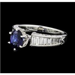 0.90 ctw Sapphire and Diamond Ring - 18KT White Gold