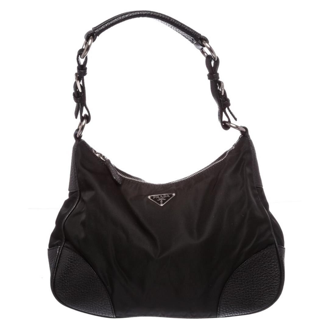 a9d4916eef52bd Image 1 : Prada Black Nylon Leather Trim Shoulder Bag ...
