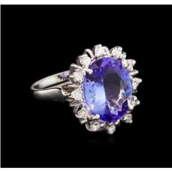6.55 ctw Tanzanite and Diamond Ring - 14KT White Gold