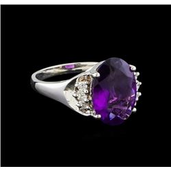 4.13 ctw Amethyst and Diamond Ring - 14KT White Gold