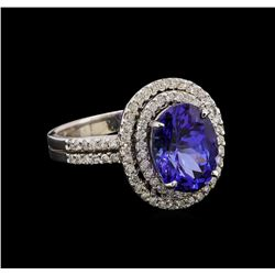 14KT White Gold 3.57 ctw Tanzanite and Diamond Ring