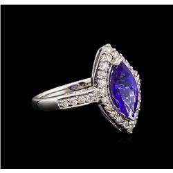 14KT White Gold 2.13 ctw Tanzanite and Diamond Ring