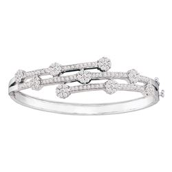 2.5 CTW Diamond Flower Cluster Bangle Bracelet 14KT White Gold - REF-312H2M