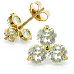 Genuine 1.50 ctw Aquamarine Earrings Jewelry 14KT Yellow Gold - REF-22K3V