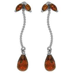 Genuine 3.4 ctw Garnet Earrings Jewelry 14KT White Gold - REF-21H6X