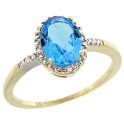 Natural 1.2 ctw Swiss-blue-topaz & Diamond Engagement Ring 14K Yellow Gold - REF-23M2H