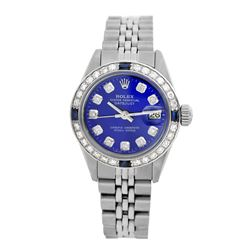 Rolex Pre-owned 26mm Womens Custom Blue Stainless Steel - REF-470K4X