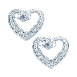 0.12 CTW Diamond Heart Screwback Earrings 10KT White Gold - REF-14F9N