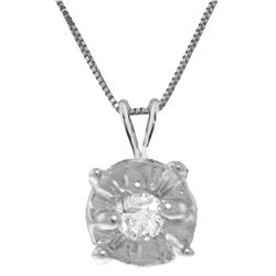 Genuine 0.03 ctw Diamond Anniversary Necklace Jewelry 14KT White Gold - REF-22P7H