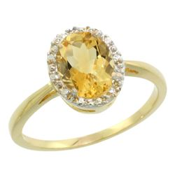 Natural 1.22 ctw Citrine & Diamond Engagement Ring 14K Yellow Gold - REF-27V2F