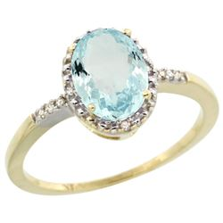 Natural 1.03 ctw Aquamarine & Diamond Engagement Ring 14K Yellow Gold - REF-26N8G