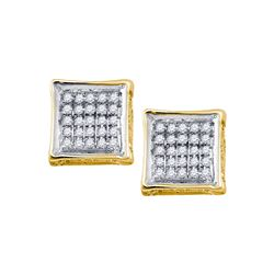 0.14 CTW Mens Diamond Square Cluster Stud Earrings 10KT Yellow Gold - REF-16H4M