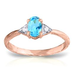 Genuine 0.46 ctw Blue Topaz & Diamond Ring Jewelry 14KT Rose Gold - REF-22X5M