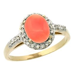 Natural 1.25 ctw Coral & Diamond Engagement Ring 10K Yellow Gold - REF-25V5F