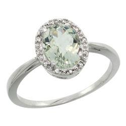 Natural 1.22 ctw Green-amethyst & Diamond Engagement Ring 14K White Gold - REF-27A2V