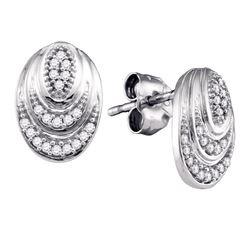 0.12 CTW Diamond Oval Stud Earrings 10KT White Gold - REF-18F2N
