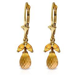 Genuine 3.4 ctw Citrine Earrings Jewelry 14KT Yellow Gold - REF-26R6P