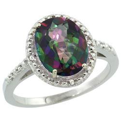 Natural 2.42 ctw Mystic-topaz & Diamond Engagement Ring 10K White Gold - REF-25A5V