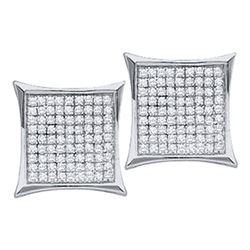 0.45 CTW Diamond Square Cluster Earrings 10KT White Gold - REF-18H7M