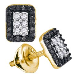 0.33 CTW Black Color Diamond Rectangle Cluster Earrings 10KT Yellow Gold - REF-19M4H