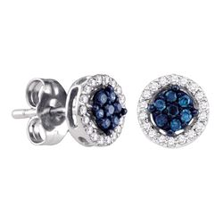 0.25 CTW Blue Color Diamond Cluster Stud Screwback Earrings 14k White Gold - REF-19Y4X