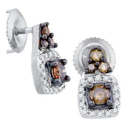 0.38 CTW Cognac-brown Color Diamond Solitaire Earrings 10KT White Gold - REF-19N4F