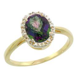 Natural 1.22 ctw Mystic-topaz & Diamond Engagement Ring 14K Yellow Gold - REF-27M2H