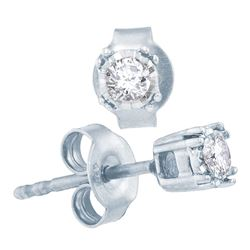 0.17 CTW Diamond Solitaire Stud Earrings 10KT White Gold - REF-19F4N