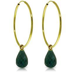 Genuine 6.6 ctw Emerald Earrings Jewelry 14KT Yellow Gold - REF-26Y7F
