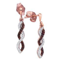 0.16 CTW Red Color Diamond Infinity Screwback Earrings 10KT Rose Gold - REF-19N4F