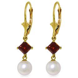 Genuine 5 ctw Pearl & Garnet Earrings Jewelry 14KT Yellow Gold - REF-29F7Z