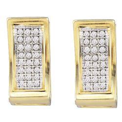 0.15 CTW Diamond Triple Row Huggie Earrings 10KT Yellow Gold - REF-22K4W