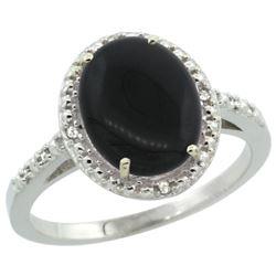 Natural 1.57 ctw Onyx & Diamond Engagement Ring 14K White Gold - REF-32G4M
