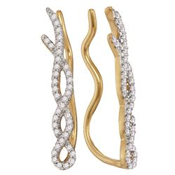 0.25 CTW Diamond Woven Climber Earrings 10KT Yellow Gold - REF-22M4H