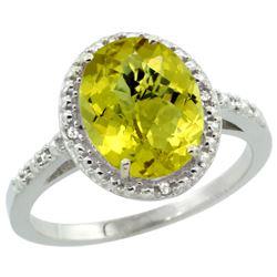 Natural 2.42 ctw Lemon-quartz & Diamond Engagement Ring 14K White Gold - REF-33N8G