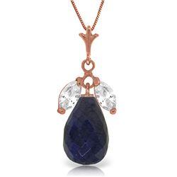 Genuine 9.3 ctw Sapphire & White Topaz Necklace Jewelry 14KT Rose Gold - REF-28K9V