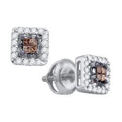 0.30 CTW Cognac-brown Color Princess Diamond Stud Earrings 14k White Gold - REF-25N4F