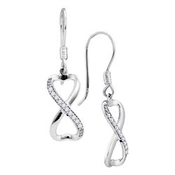 0.20 CTW Diamond Infinity Dangle Ear-wire Earrings 10KT White Gold - REF-25M4H