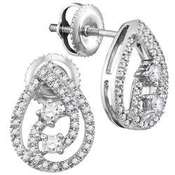 0.25 CTW Diamond 2-stone Teardrop Screwback Earrings 10KT White Gold - REF-26N3F