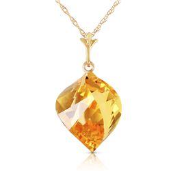 Genuine 11.75 ctw Citrine Necklace Jewelry 14KT Yellow Gold - REF-26Z7N